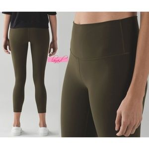 Lulu High Times Pants Military Green Olive Rise 10